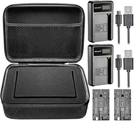 Neewer 7 inches Camera Field Monitor Accessory Kit for Neewer NW759 74K 760, Feelworld FW759 759P 760 74K and Others: Monitor Carrying Case,2 Pieces NP-F550 Replacement Battery,2 Pieces USB Charger by Neewer
