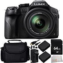 Panasonic Lumix DMC-FZ300 Digital Camera 9PC Accessory Kit. Includes 64GB Memory Card + 2 Replacement BLC-12 Batteries + AC/DC Rapid Home & Travel Charger + Micro HDMI Cable + Carrying Case + Microfiber Cleaning Cloth
