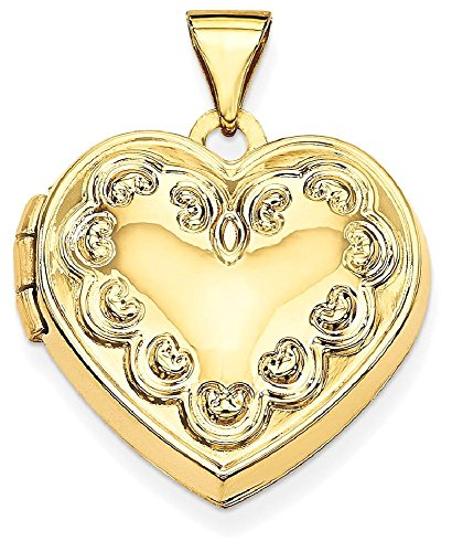 ICE CARATS 14k Yellow Gold Domed Heart Photo Pendant Charm Locket Chain Necklace That Holds Pictures by ICE CARATS