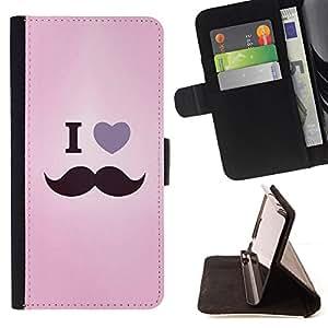 BullDog Case - FOR/Samsung Galaxy S4 Mini i9190 / - / i love moustache hipster quote text pink /- Monedero de cuero de la PU Llevar cubierta de la caja con el ID Credit Card Slots Flip funda de cuer