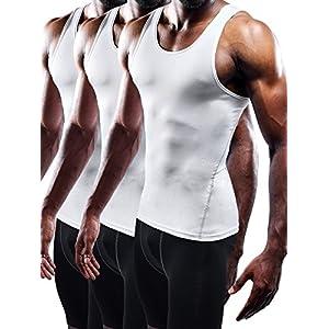 Neleus Men's Athletic 3 Pack Compression Tank Top Dry Fit Undershirts,White,XL,EUR 2XL