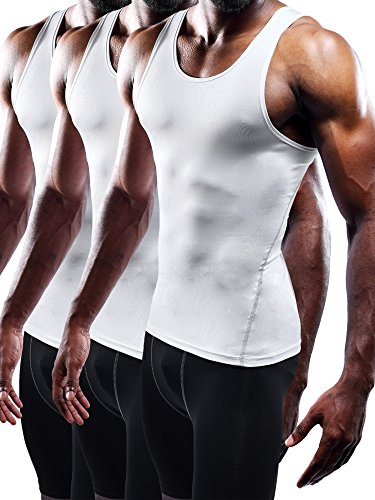 Moisture Wicking Undershirts - Neleus Men's Athletic 3 Pack Compression Tank Top Dry Fit Undershirts,White,XL,EUR 2XL