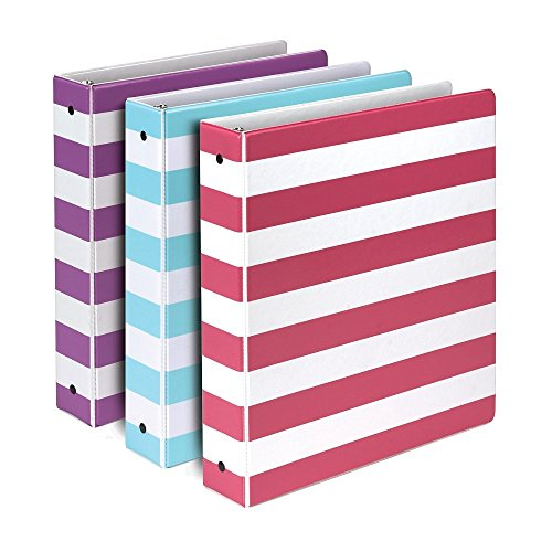 Cheap  Samsill Stripes Fashion Design 3 Ring Binders, 1.5 inch Round Ring -..