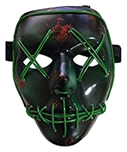 JBNEG Frightening Wire Halloween Cosplay LED Light up Scary Mask for Festival Parties, Green -