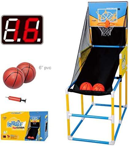 キッズバスケットボールフープ、屋内射撃、自動採点機能付きラック射撃機、ボールネットと5個のボール