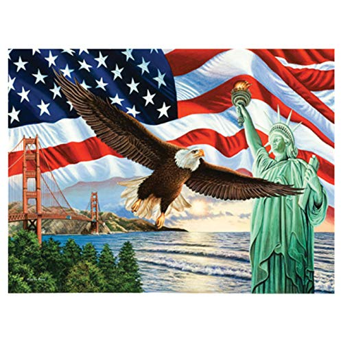LIPHISFUN DIY 5D Diamond Painting by Number Kit for Adult, Full Round Resin Beads Drill Diamond Embroidery Dotz Kit Home Wall Decor,30x40cm,Eagle Flag Liberty Statue (Eagle Embroidery Flag)