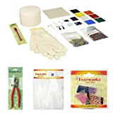 Saver pack: Fuseworks Beginners Fusing Kit PLUS Studio Pro 1-Inch Running Pliers PLUS 1-Ounce Dichroic Bits and Pieces 90 COE Fusible Glass, Assorted Colors PLUS Kiln Paper, Pack of 4 Sheets