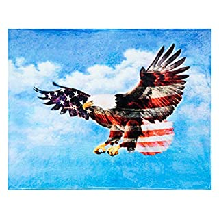 Bald Eagle Throw Blanket, Extra-Large American Flag Eagle Blanket for Adults, Boys, and Girls, Cozy Soft Patriotic Eagle Fleece Blanket with American Flag Theme (50in x 60in) Patriotic Gifts and Décor