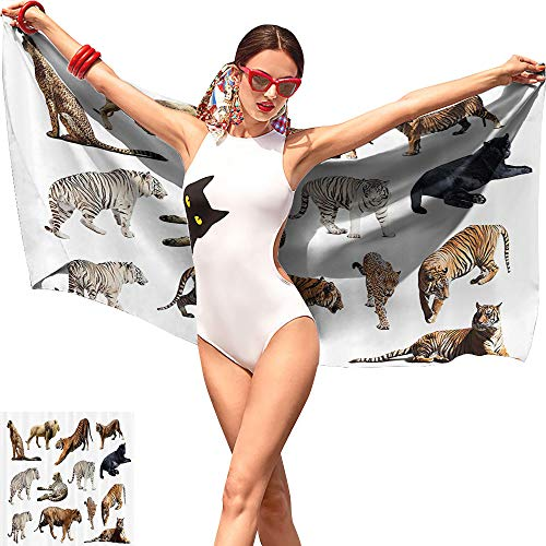 Jaydevn Safari Decor Collection Boys Beach Towel,Collection of Tigers and Other Big Wild Cats Predatory Feline Zoo Lying Standing Background Ivory,Beach Chair Towel W10 x L39 ()