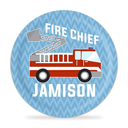 Fire Truck Personalized Plate - Kids Red Firetruck Melamine Plate (Personalized Truck Fire Plate)