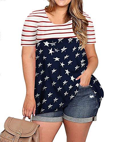 - YONYWA Women Short Sleeve American Flag Print T Shirt Plus Size Stripes and Stars US Flag Tunic Tees Tops Blue