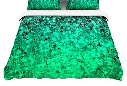 Kess InHouse EBI Emporium Romance Me Green King Cotton Duvet Cover 104 x 88 104 x 88