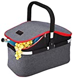 Collapsible Soft Cooler Bag 30L Family Size Insulated Folding Picnic Basket Service for 4 Person's Food and Drink Keep Hot/Cold/Fresh for Hours Waterproof Insulation Tote With Aluminum Handle-Gray