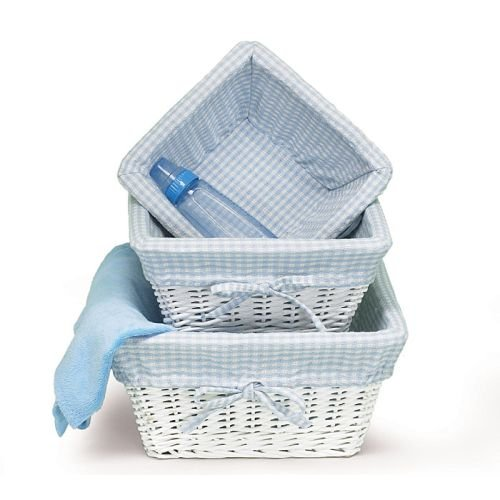 Set of 3 Baby Boy Nursery Storage Baskets White Willow with Blue Cotton Gingham Fabric (Blue Nursery Baskets Three)