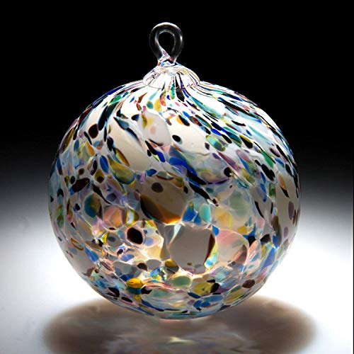 Ornament. Sun catcher. Hand blown Fine Art Glass Ornament in Clown White. Made in Seattle. Artist Dehanna Jones.