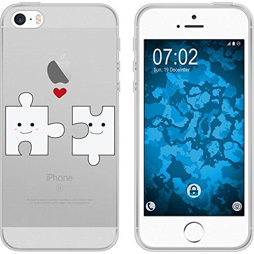 PhoneNatic Case für Apple iPhone 5 / 5s / SE Silikon-Hülle in Love M1 Case iPhone 5 / 5s / SE Tasche + 2 Schutzfolien