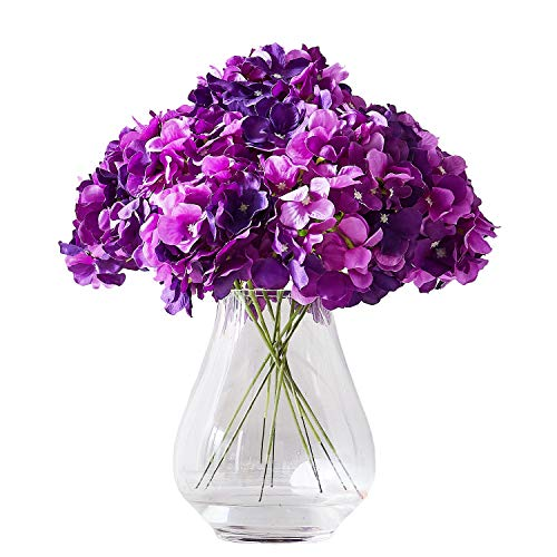 Purple Hydrangea Bouquet - Kislohum Artificial Hydrangea Flower Heads 10 Dark Purple Hydrangea Silk Flowers Head for Wedding Centerpieces Bouquets DIY Floral Decor Home Decoration with Long Stems