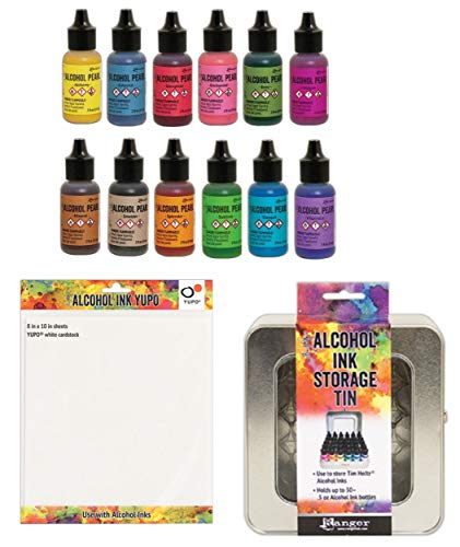 (Tim Holtz - 12 Pearl Alcohol Inks, Alcohol Ink Storage Tin, One Sheet of Ranger Yupo 8 inch x10 inch White Cardstock for Making Your Own Color Chart - Bundle of 14 Items)