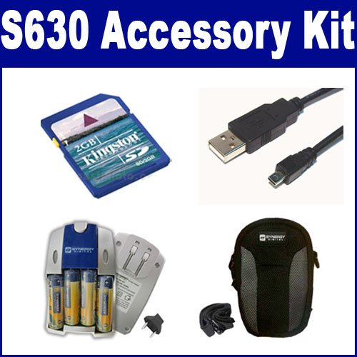 (Samsung S630 Digital Camera Accessory Kit includes: SB257 Charger, KSD2GB Memory Card, SDC-21 Case, USB8PIN USB Cable)