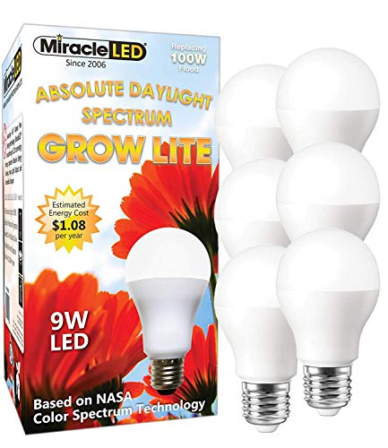 MiracleLED 604863 Absolute Daylight Spectrum 6-Pack, Replace 100W Grow Light, Full Bulb