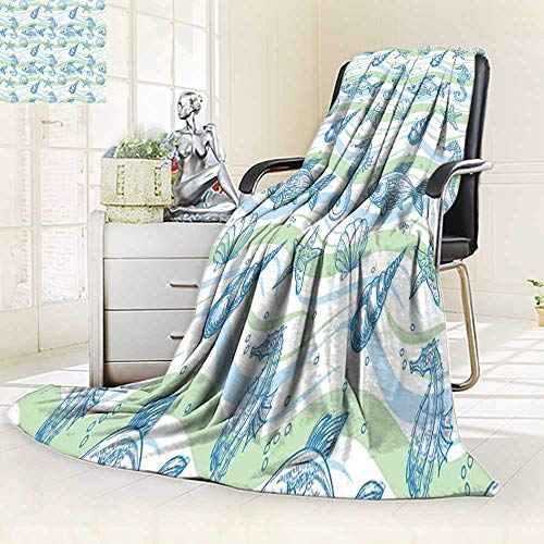 YOYI-HOME Digital Printing Duplex Printed Blanket Nautical Marine Ocean Shell Starfish Oyster Mollusk Seahorse Underwater Aquatic Mint Blue for Hote Summer Quilt Comforter/59 W by 86.5