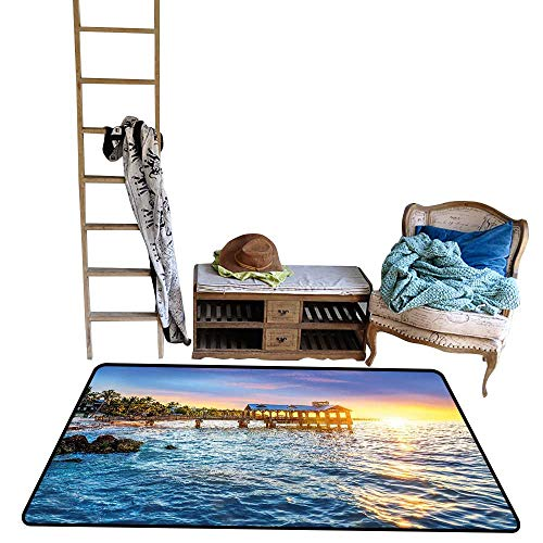 Decorative Floor mat,Pier at Beach in Key West Florida USA Tropical Summer Paradise 55