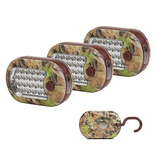 Camo 27 LED Worklight / Flashlight (3 PACK) with Hanging Hook and Rare Earth Magnet on Back. Batteries Included. (Camo Rare)