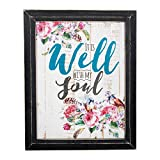 It is Well with My Soul Roses and Birds Design 18 x 14 Weathered Black Framed Art Wall Sign