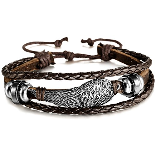 MOWOM Alloy Genuine Leather Bracelet Bangle Cuff Angel Wing Feather Surfer Wrap Adjustable