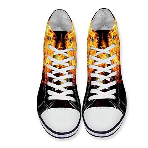 För U Designar 3d Brand Mönster Män Tygskor Höga Topp Snörning Sneakers Brand Mönster