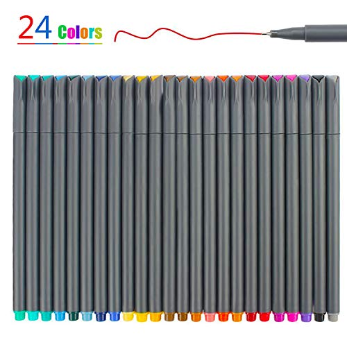 24 Colors Fineliner Color Pen Set, Fine Line Point Drawing Marker Pens for Writing Journaling Planner Coloring Book…