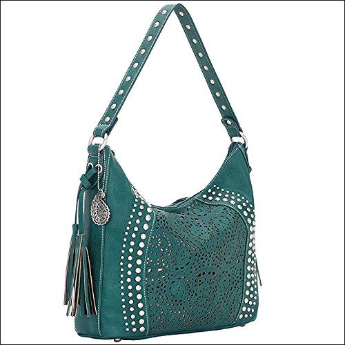 american-west-bandana-mesa-ladies-slouch-hobo-shoulder-hand-bag-turquoise-gold
