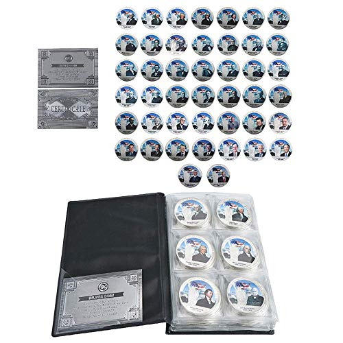 All 45 US President Commemorative 44-Coin Full Set Colorized Silver Plated Coin w/Album,A Great Gift for Coin Collecting Starter Holders,Husband, Father, Friends,Fans,Father's Day ()