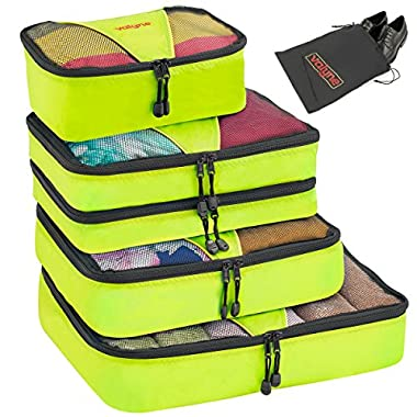 Valyne Packing Cubes 4-pcs Set, Luggage Travel Organizer Bags with a Free Laundry/shoe Bag (Medium Bag Double Compartment) (Green)