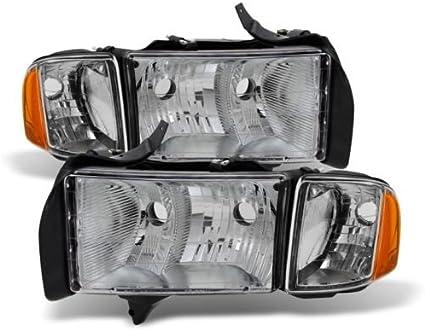 Jdragon for Dodge 1999-2001 Ram 1500 Sport Model Chrome Housing Replacement Headlights Pair Set