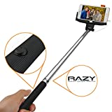 Monopod Selfie Stick Razy - Self-portrait Wireless Pole with Tripod Mount Camera Holder and Remote Shutter Designed for Apple iPhone 6 6plus 5 5s 5c 4 4s, Samsung Galaxy S3 S4 S5, HTC One, Google Nexus, LG and Sony - Black