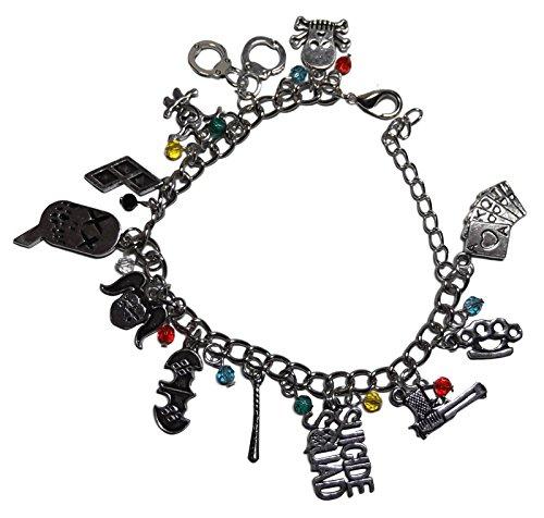 Suicide Squad Harley Quinn Theme Silvertone Metal Charm Bracelet