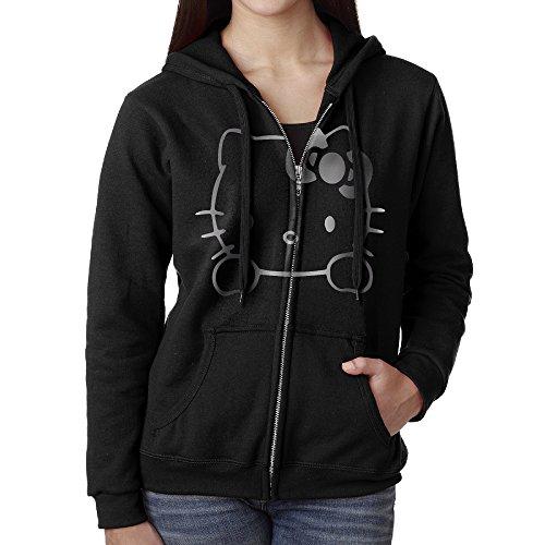Women Hello Kitty Vinyl Decal Platinum Logo Hoodie Sweatshirt Black -