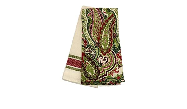 Amazon.com: Lauren by Ralph Lauren Red Green Paisley/Stripe Christmas Holiday Set of 2 Kitchen Towels: Home & Kitchen