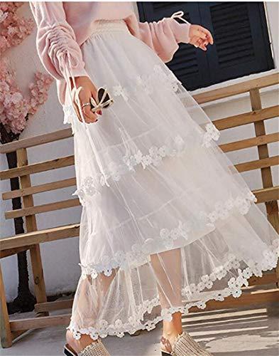 Da In Size color Moderno Home One Lunga Dress Vita Girls Size Pizzo Volant Apricot White Donna Gonna Con Elastica 1wxIBcgHq