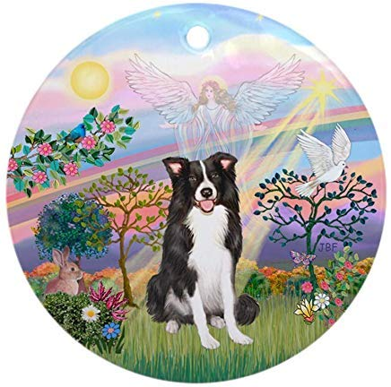 Voicpobo Cloudangel2/Border Collie Angel Christmas Ornaments Round Novelty Ceramic Christmas Tree Decoration Ornament Gifts for Friends,for Family