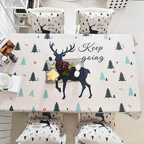 Christmas Tablecloth Thickened Cotton Linen Heat Insulation Ribbons Engineered Printed Fabric Decor Coffee Table Cover Washable Table Cloth Picnic Mat -