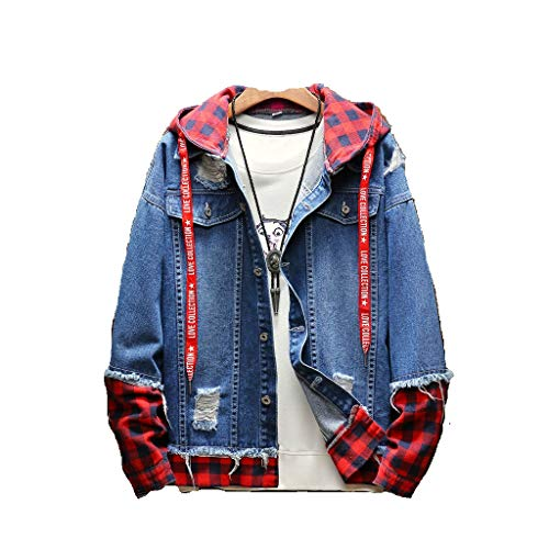 - Zoilmxmen Men's Loose Jean Coats, Men's Autumn Winter Plaid Vintage Wash Distressed Denim Jacket Coat Top Blouse