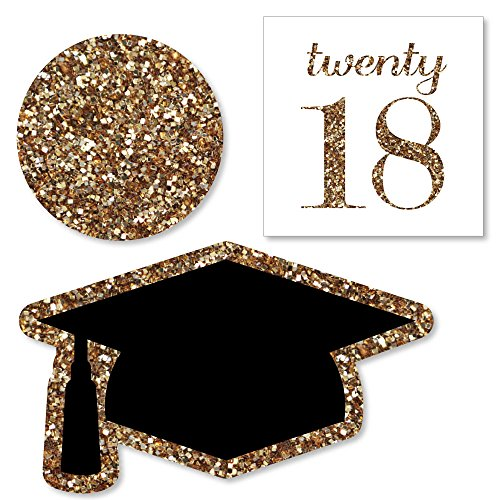Big Dot of Happiness Gold Tassel Worth The Hassle - DIY Shaped 2018 Graduation Party Cut-Outs - 24 Count