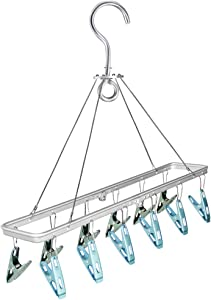 Champmate Aluminum Alloy Laundry Drying Rack Clothes Hanger with 12 Clips for Drying Socks, Drying Towels, Hat, Cap,Diapers, Bras, Baby Clothes, Underwear, Socks Gloves for Travel (Silver)