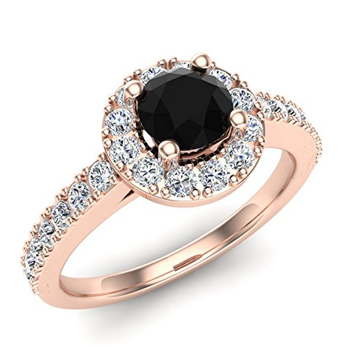 1.00 ct tw Black & White Round Diamond Cathedral Style Halo Engagement Ring 14K Rose Gold (Ring Size 4) Cathedral Four Prong