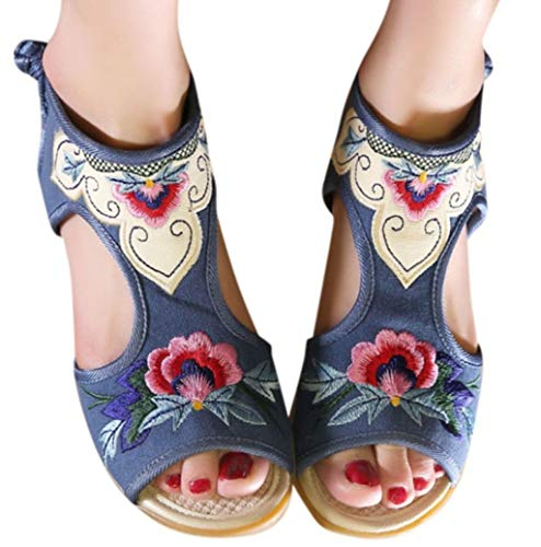 (Hemlock Women Wedges Shoes Pee Toe Sandals Retro National Embroidered Shoes Summer Breathable Pumps Blue)