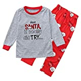 Unisex Presents Gifts for Newborn Baby,Marry Christmas,2PCS Christmas Children Kids Letter Print Top+Pants Family Clothes Pajamas by Covermason