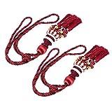 WINOMO 1 Pair of Beaded Tassels Curtain Tieback Holdback Holders Buckle for Home Drape Decoration (Dark Red)