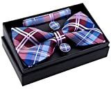 Retreez Elegant Tartan Plaid Check Woven Microfiber Pre-tied Bow Tie (Width: 5'') with matching Pocket Square and Cufflinks, Gift Box Set as a Christmas Gift, Birthday Gift - Burgundy and Blue